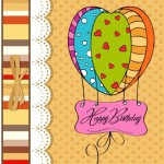 Cute Cartoon Happy Birthday Card Design Vector 02