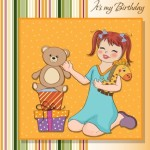 Cute Cartoon Happy Birthday Card Design Vector 03