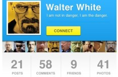 Flat Blue User Profile Widget PSD