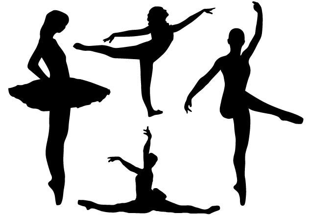 free set of vector ballerina silhouettes 01   titanui