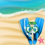 Summer Beach Diving Design Elements Vector