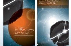 Creative Light Clashes Vertical Banners Vector
