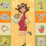 Sweet Little Girl Card Cover Design Vector 02