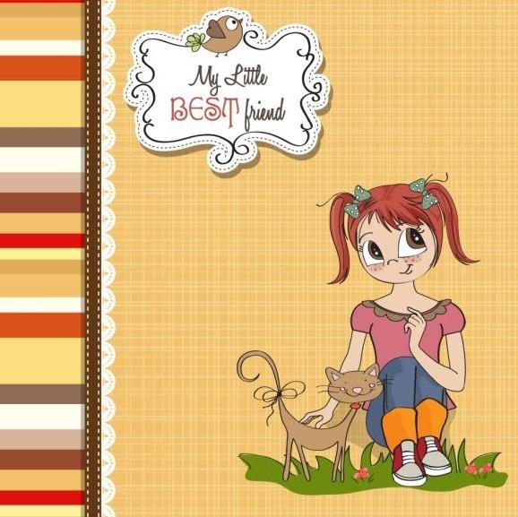 sweet little girl card cover design vector 03