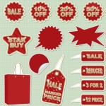 Set of Vintage Red Sale Stickers & Labels Vector