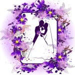 Vector Wedding Photo Frame with Purple Floral Border