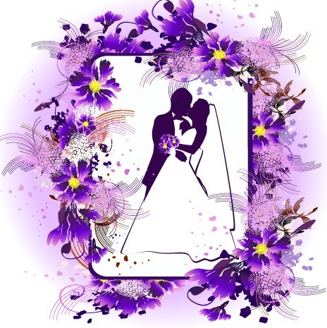 Vector Wedding Photo Frame with Purple Floral Border Wedding Borders And Frames Free Download