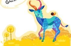 Cute Cartoon Gazelle Illustration Vector