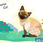 Cute Cartoon Siamese Cat Illustration Vector