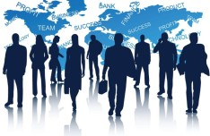 Business Men Silhouettes With World Map Background 01