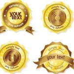 High Quality Golden Badges with Ribbons Vector