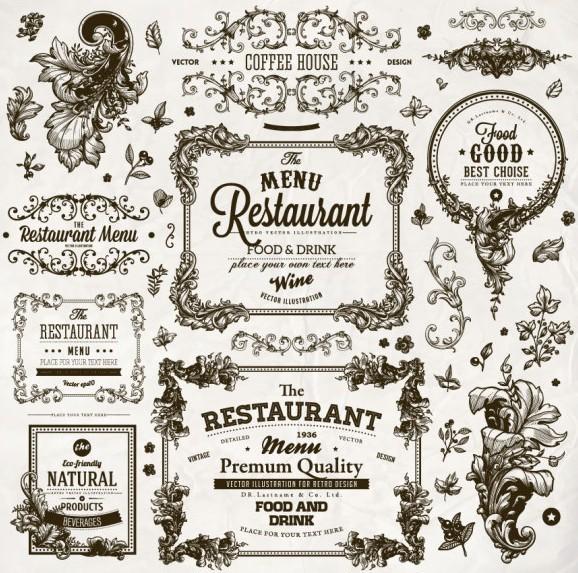 Free vintage restaurant menu floral frames vector titanui for Artistic cuisine menu