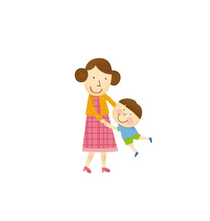 Cartoon Mother Holding Baby
