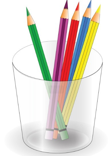 Colored Pencils and Pencil Vase Vector