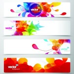Set Of Vector Colored Banners with Abstract Floral Background