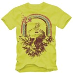 Vector Yellow Short-sleeved T-shirt With Vintage Skull Pattern