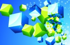 Abstract 3D Colored Boxes Background Vector 02