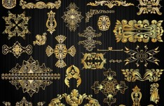 Gorgeous Golden Vintage Floral Ornaments