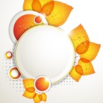 Orange Leaf and Butterfly Vector Frame 02