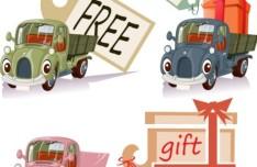Cute Cartoon Trucks With Labels Vector 03