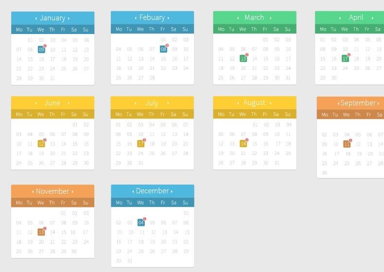 Calendar Ui Design Psd : Free flat full calendar design psd titanui