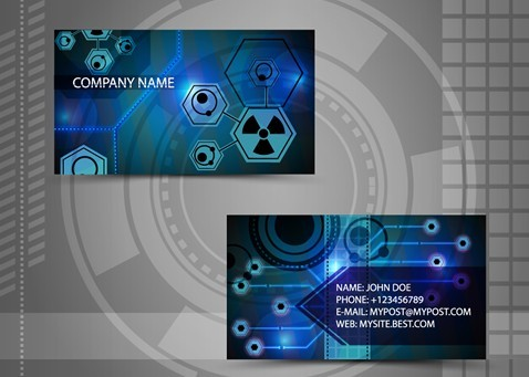 Free Bright HITech Business Card Templates Vector TitanUI - Technology business card templates