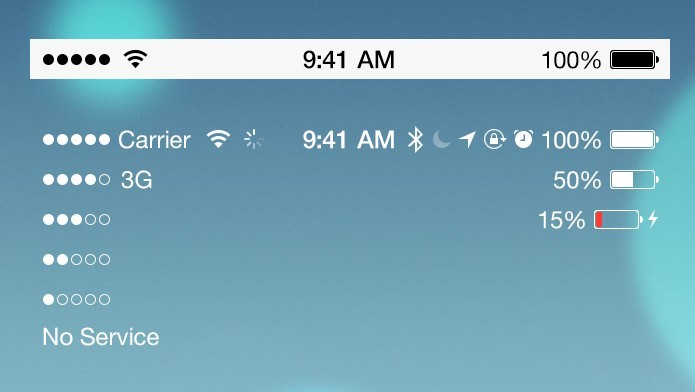 new iOS 7 style status Bar UI designed by photoshop.