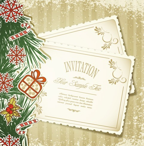 Christmas invitation card vector all ideas about christmas and free vintage merry christmas invitation card ornaments vector 05 titanui stopboris Choice Image
