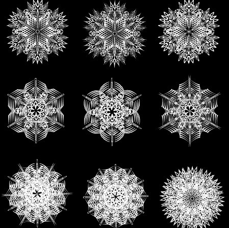 Creative Black and White Snowflake Design Vector 02White Snowflake Vector Free Download