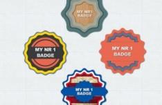 Flat Style Web Badge Set