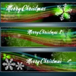 Set Of Vector Merry Christmas Banners with Bright Snowflake Backgrounds 01
