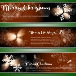 Set Of Vector Merry Christmas Banners with Bright Snowflake Backgrounds 03