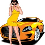Beautiful Babe with Yellow Car Vector Illustration 02
