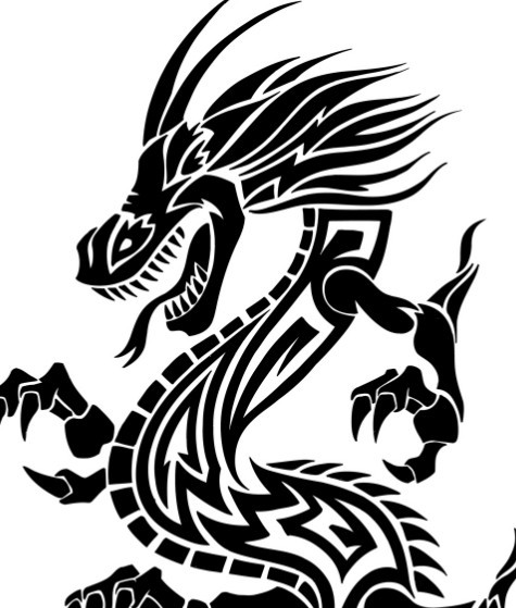 Free Black China Dragon Paper Cut Pattern Vector 01 - TitanUI