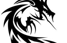Black China Dragon Paper Cut Pattern Vector 02
