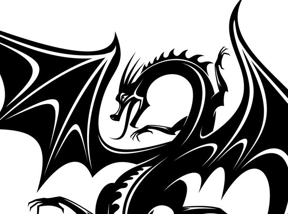 Free black china dragon paper cut pattern vector 03 titanui for Chinese paper cutting templates dragon