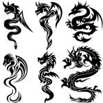 Black China Dragon Paper Cut Pattern Vector 04