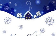 Blue Christmas Illustration For Merry Christmas Card Vector 04