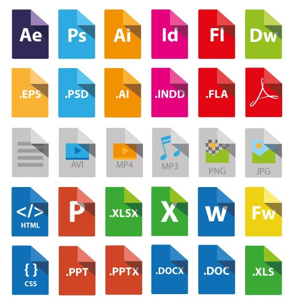 collection of 30+ flat styled File Type Icons, including ae, ps, ai ...