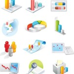 Set Of 3D Business Data Statistics Icons Vector