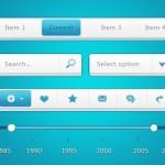 White And Blue Minimal Web UI Kit PSD