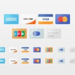 Simple Flat Credit Card Icons PSD