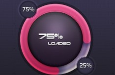 Circular Pink Loading Bar with Percentage PSD