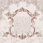 Brown Vintage Label with Floral Swirls Background Vector 05