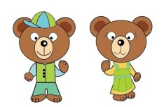 2 Cute Cartoon Bears Vector
