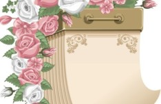 Blank Calendar with Love Flowers Ornaments Vector 02
