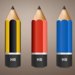 Colored Pencils with 3 Colors PSD