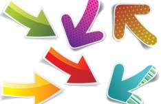 Set Of Colorful Bright Paper Arrows Vector