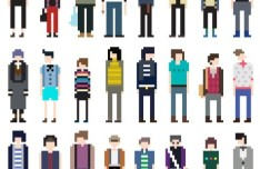 Vector Fashion Pixel Man Collection