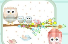Vector Illustration Of Cute Owls with Hearts 02